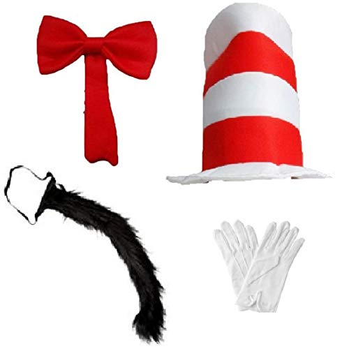 Hi Fashionz Adult Kids Cat Fancy Dress Costume Hat Over Sized Bow Tie Tail Gloves Book Day Fancy Dress Kids 4 Pcs Set One Size ()