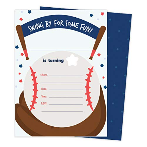 Baseball 1 Happy Birthday Invitations Invite Cards (25