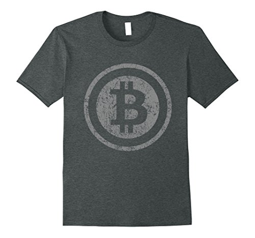 Mens Vintage Bitcoin T-Shirt For Crypto Currency Traders XL Dark Heather