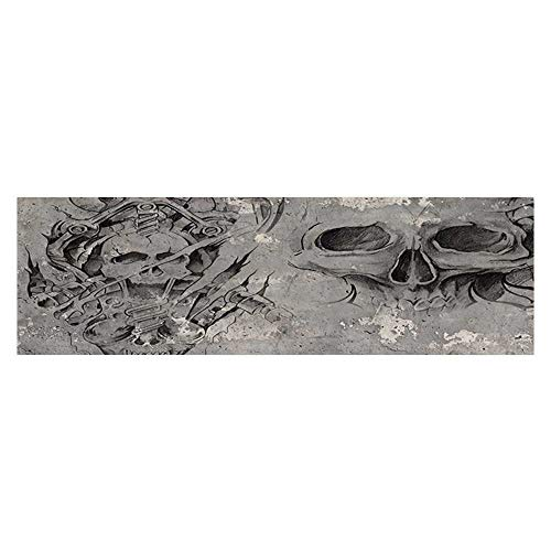 UHOO2018 Decor Paper Cling Decals Sticker Scary Dead Skull Skelet Dem Gothicati with Tribal Figures Artsy Aquarium Sticker Wallpaper Decoration 23.6