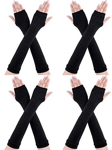 Bememo 4 Pairs Winter Long Fingerless Gloves Knitted Arm Warmer Elbow Length Gloves Thumb Hole Gloves for Women Girls (Color H) (Fingerless Gloves Warmers Arm)