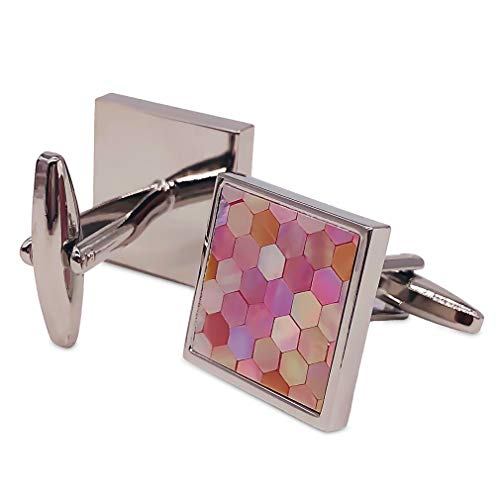 VIILOCK Mother of Pearl Mix Colorful Cufflinks Set with Gift Bag ()