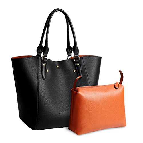 Bag Shoulder Red Bag Black Aosbos Shopping Leather Tote PU Women Handbag Uz0qx6Fw8q