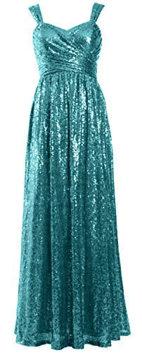 Macloth Long Party Women Sleeveless Teal Bridesmaid Gown Dress Evening Formal Sequin 7Fa7qr0w