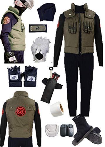 YOUYI Comic Naruto Hatake Kakashi Cosplay Costume Halloween Full Suit (Male 3XL) Green ()