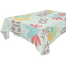 Yuihome Single Face Love Heart Polyester Tablecloths 60 x 120 Inches Rectangle & Oblong Bird Table Top Decoration