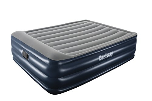 Bestway Airbeds Flocked Cornerstone Quick Inflation Indoor Air Mattress with Built-In Pump/Pillow and Travel Bag, Blue, Queen