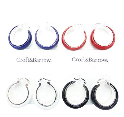 Fun & Colorful New Summer Hoop Earrings in Red,Blue,Black & White