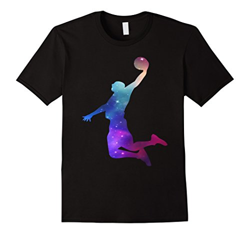 Mens Galaxy Basketball Fan Space And Stars Dunk Gift T-Shirt Large Black