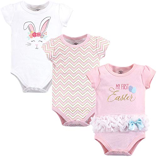 Girls Easter Clothes (Little Treasure Unisex Baby Cotton Bodysuits, Girl 1st Easter Short Sleeve 3 Pack, 3-6 Months)