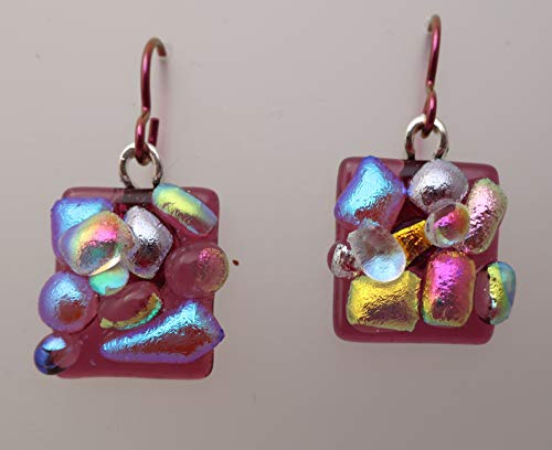Fun sparkly texture fused magenta dichroic glass bubble dot dangle drop Niobium earrings ()
