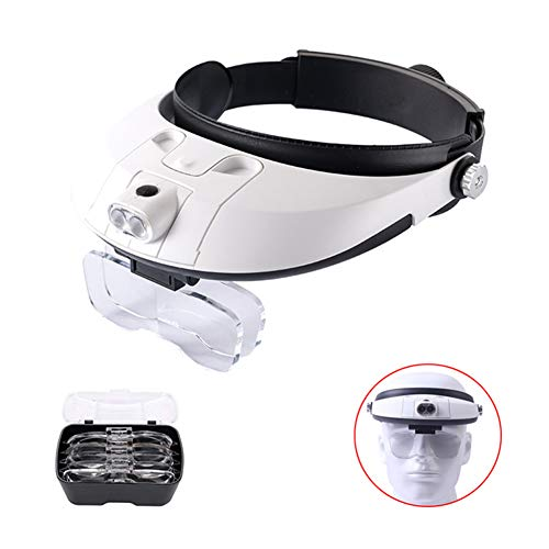 ASNPO Hands Free Headband Magnifier -1x to 3.5X Zoom with 5 Detachable Lenses-Head Mounted Head Magnifying Glasses with Light for Reading,Jewelry Loupe,Watch,Electronic -