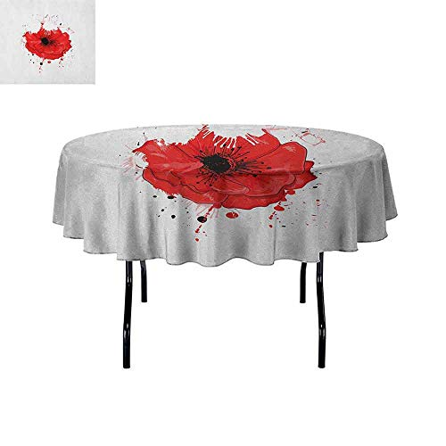 Douglas Hill Poppy Printed Tablecloth Head of a Herbaceous Plant Opiate Flower with Messy Color Splashes Drawing Style Desktop Protection pad D55 Inch Red White Black