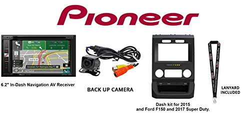 "Pioneer AVIC-5201NEX In-Dash Navigation AV Receiver w/6.2"" WVGA Touchscreen w/Back Up camera & iDatalink KIT-FTR1 Dash kit for 2015 & Ford F150 and 2017 Super Duty & SOTS Lanyard"