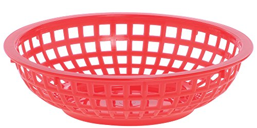 Round Plastic Serving Basket, Red, Case of 36