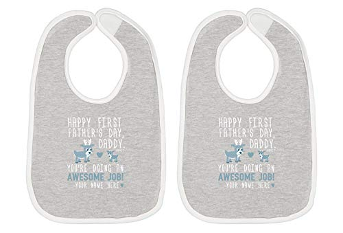 Custom New Baby Gifts for Baby Shower Happy First Fathers Day Blue Your Text Baby Bib Heather/White 2-Pack ()