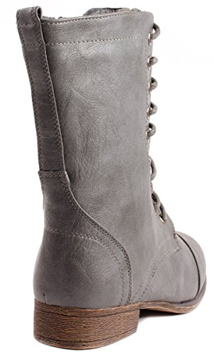up Round Ankle Grey Leatherette with Boots Lace Toe Beyonce Forever 62 Side Faux Women's Zipper RSnqY
