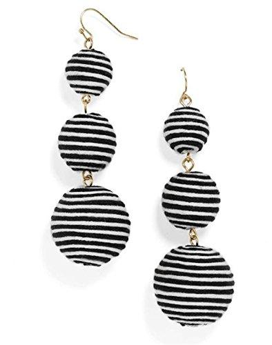 INMIX Women's Triple Thread Wrapped Ball Earrings Lantern Beaded Wire Black White Balls Dangle Drop Earrings For (Navy White Earings)