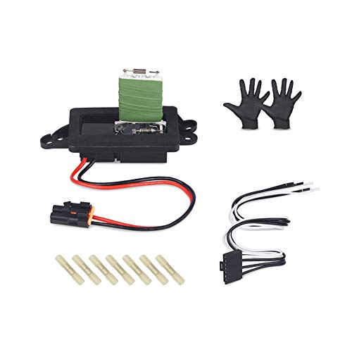 WMPHE HVAC AC Blower Motor Resistor With Harness and Instructions Compatible for Cadillac Escalade Chevy Avalanche Trailblazer Suburban Tahoe GMC Yukon#22807122 89018596 8919088 with A Pair of Gloves