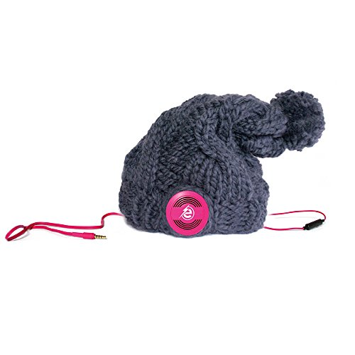 Earebel Dark Grey Hand Knitted Plait Bobble Hat Beanie with Built-In Pink AKG Headphones, Buckland by Earebel powered by AKG