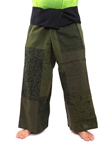 Jing Shop Men's Thai Fisherman Pants Patchwork L Green