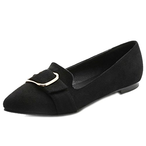 SJJH Comfortable Women Shoes with Large Size and Nubuck Materail All Match Flat Shoes Black