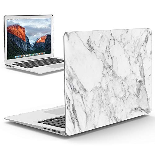 iBenzer MacBook Air 13 Inch Case, Soft Touch Hard Case Shell Cover for Apple MacBook Air 13 A1369 1466, White Marble,MMA1301WHMB