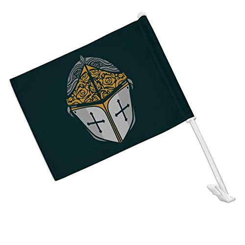 GRAPHICS & MORE Knight Warrior Helmet Medieval Roses Templar Car Truck Flag with Window Clip On Pole Holder - Right Passenger Side