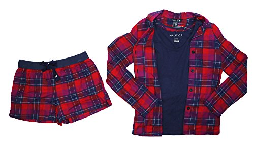 - Nautica Button Front Shirt, Tank Top & Boxers 3-Piece Pajama Set (X-Large, Red Plaid/Navy)
