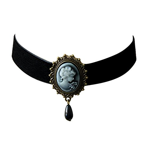 Necklace Black Cameo (JJTZX Victorian Black Velvet Lace Cameo Choker Gothic Lady Cameo Necklace Gift for Her (Black Cameo))