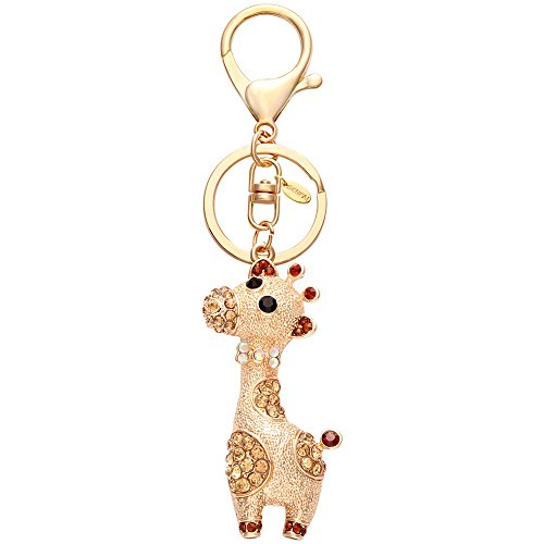(SENFAI Giraffe Deer Pretty Gold Plating Crystal Handbag Pendant Keyring Keychain for Car Key Holder£¨Gold£)