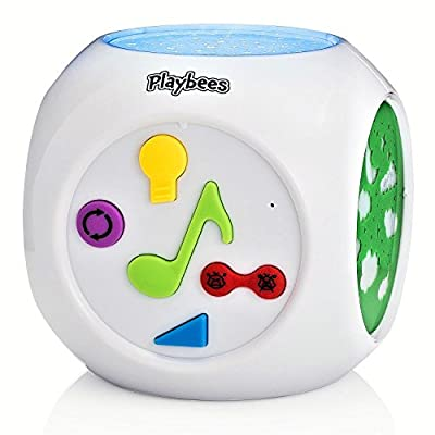 Playbees Baby Sound Machine & Star Projector Night Light, Cry Detecting Nursery Shape Projection Lamp with Soothing Nature Music, 10 Classic Lullabies, and Auxiliary Cord for Playing Music, White