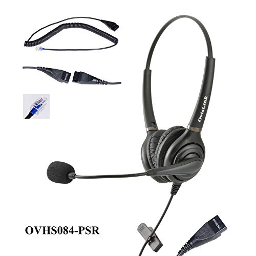 Dual Eer OvisLink Polycom Headset Noise Canceling Call Center Headset Compatible with Polycom VoIP Phone with RJ9 Headset Jack