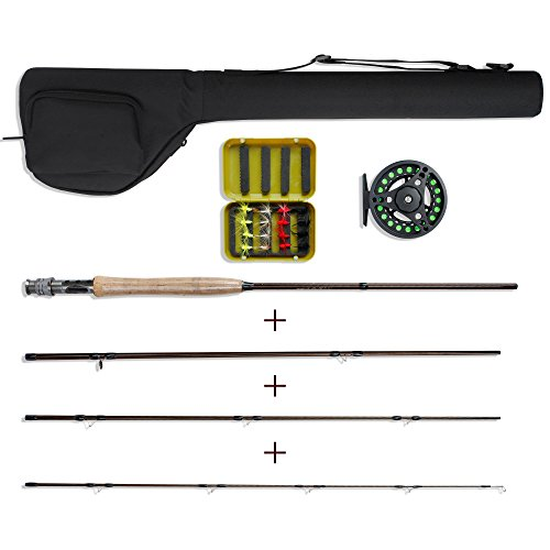 NetAngler Fly Fishing Kit,Lightweight Portable Rod and Reel Combo 5/6 8' 4-Piece Rod Fly Fishing Complete Starter Package with Carry - Fly Rod Fishing Starter