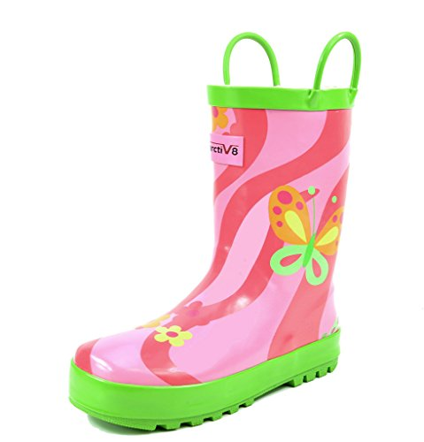 arctiv8 Little Kid Harley Butterfly Ruber Ankle Rain Boots - 3 M US Little Kid -