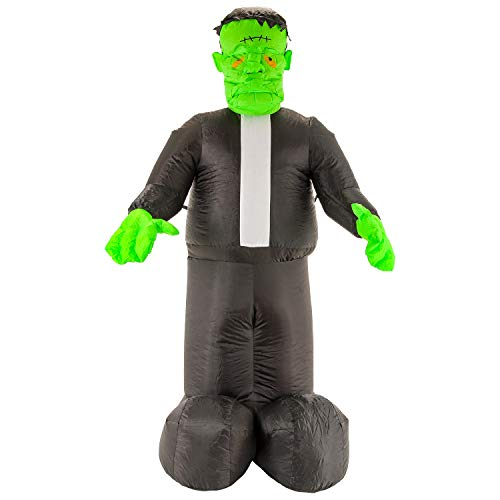 Halloween Haunters 7 Foot Inflatable Frankenstein Monster with LED Lights Indoor Outdoor Yard Lawn Prop Decoration - Blow Up Haunted House Party -