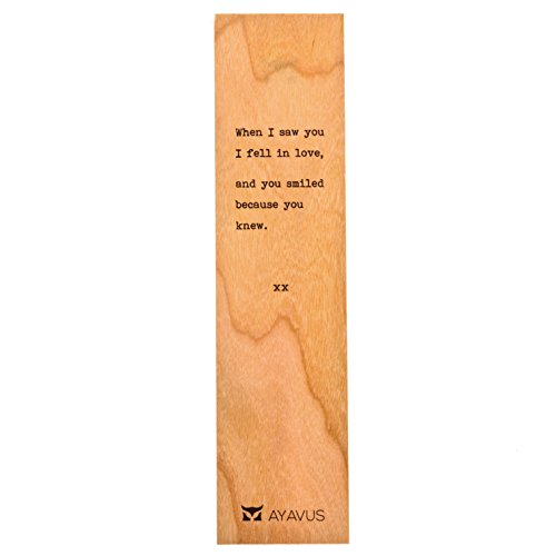 (When I Saw You I Fell In Love, and You Smiled Because You Knew - Wooden Bookmark Minimalist Quotes Valentines Day Romance Gift Romantic Quote Heart Lovers Anniversary Gift Made)