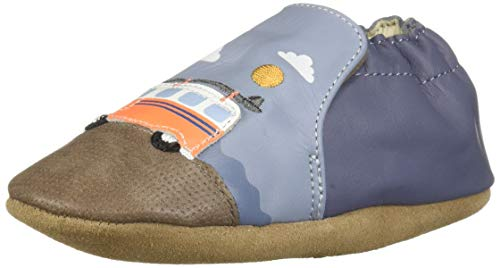 Robeez Boys' Soft Soles Crib Shoe, Light Blue, 12-18 Months