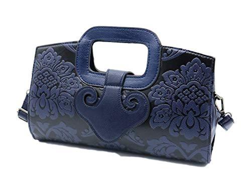 allx Women's embossed flower classic design handbag Chinese style (Blue) -