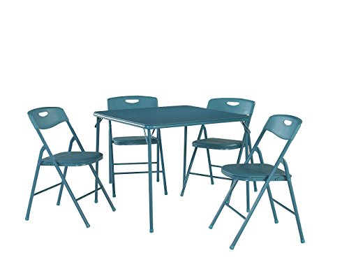 (Cosco 37557TEAE 5-Piece Folding Table and Chair Set Teal)