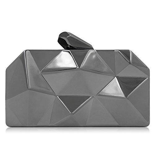 Clutch Fashion Clutch Metal Evening Clutches Women Milisente Geometic Black Purse W0wnEXOq