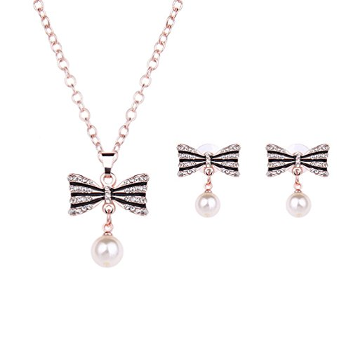 Most Beloved Fashion Austrian Crystal Bow PearlTeardrop Pendant Necklace Jewelry Set