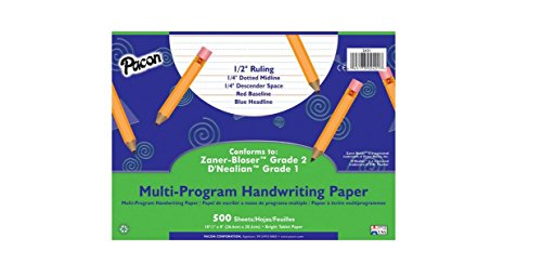 School Specialty Handwriting Paper - 1/2 Rule, 1/4 Dotted, 1/4 Skip - 10 1/2 x 8 inch - 500 Sheets (Writing School Tablet)
