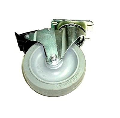 "Colson Swivel Caster with 5"" x 1-1/4"" Gray TPE Soft Wheel & Brake 22-5256-445"