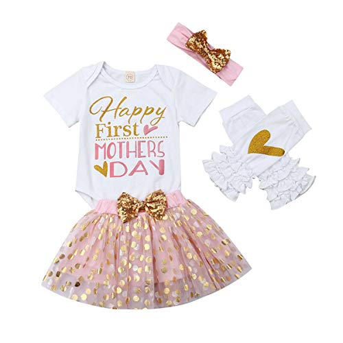 Happy First Mothers Day Infant Newborn Girl Short Sleeve 100% Cotton Bodysuit Tops Tutu Us dot Skirt Headband Leg Hotter 4PCS Set Full Celestial Satellite Gift (Flannel Kitty Fabric Hello)
