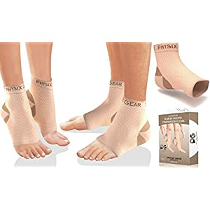 Physix Gear Plantar Fasciitis Socks with Arch Support for Men & Women - Best 24/7 Compression Foot Sleeve for Heel Spurs, Ankle, PF & Swelling - Holds Shape & Better than a Night Splint - BEIGE S/M