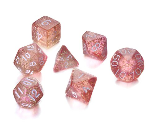 REINDEAR 7 Die Polyhedral Role Playing Game Dice Set with Velvet Pouch (Flash Powder Pink)