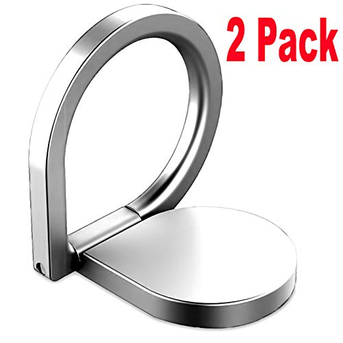 2Pack Phone Ring Holder Stand,iEugen Universal Thin Finger Ring Grip 360 Rotation Finger Ring Stand Holder Kickstand Compatible with iPhone XR, Xs,Xs MAX, iPhone X, iPhone 8/8 Plus More-Silver