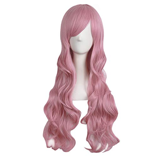 MapofBeauty 28/70cm Charming Womens Long Curly Full Hair Wig (Rouge Pink)
