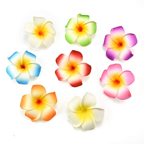 fake flowers heads in Bulk Wholesale Plumeria Hair Clip Hawaiian PE Foam Frangipani Artificial Flower for Wedding Party Decoration Fake Egg Flower Bouquets 20pcs 7cm (Multicolor)
